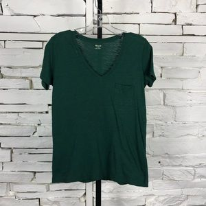 Madewell V-Neck Tee Shirt Forest Green XSmall 1355
